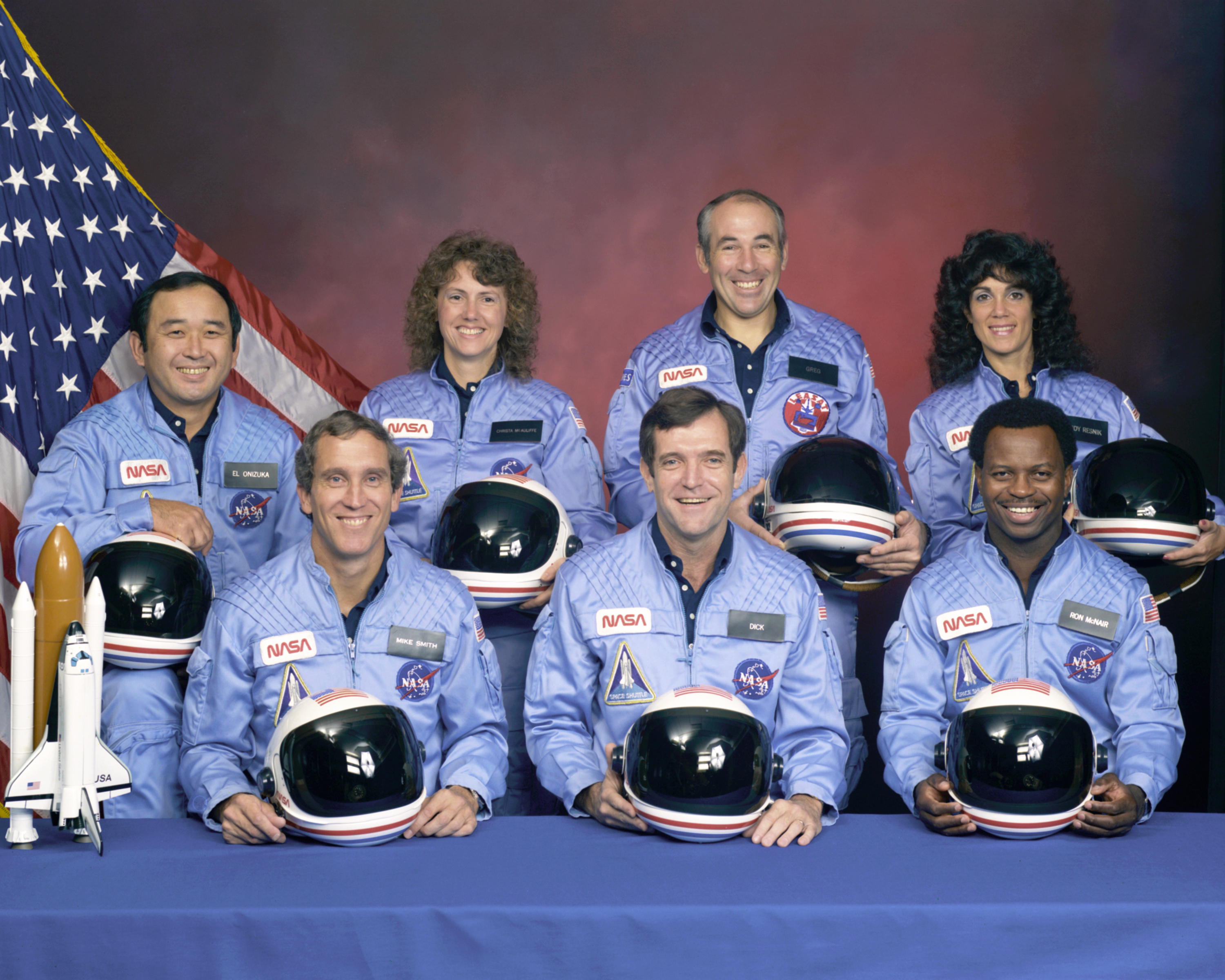 Ellison S. Onizuka, Sharon Christa McAuliffe, Gregory Jarvis, Judith A. ResnikMichael J. Smith, Francis R. (Dick) Scobee, Ronald E. McNair