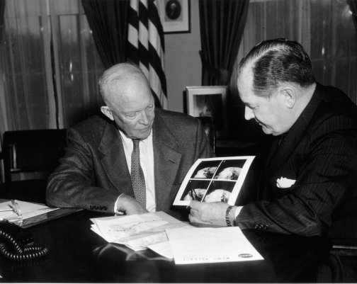 President Eisenhower and NASA Administrator Glennan Viewing the First Satellite Images from TIROS I. [photo: wikimedia commons]