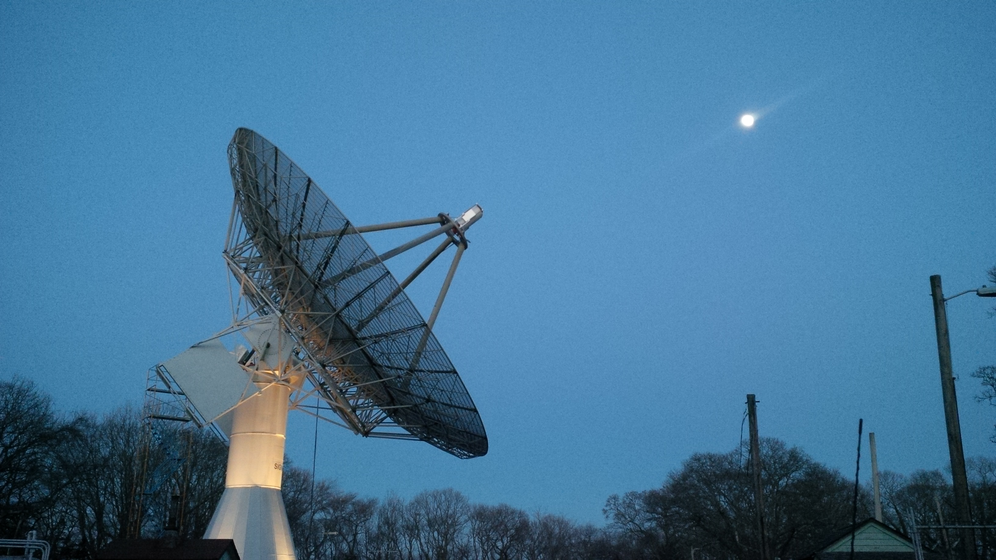 The TIROS Dish and the Moon at Dusk
