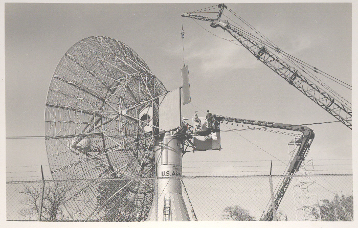 60-Meter Parabolic Dish Being Constructed on Project Diana Site [photo: Frank Vosk; InfoAge website]