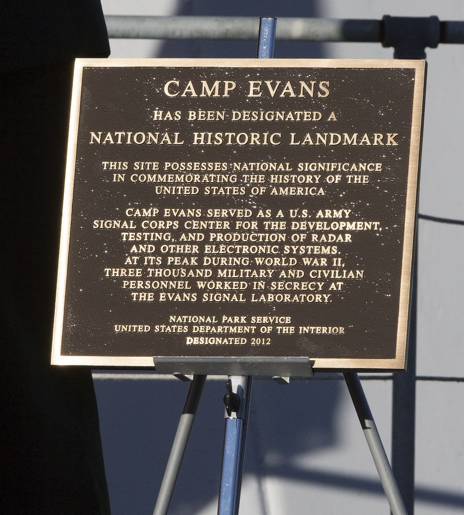 Plaque Commemorating the Designation of Camp Evans as a National Historic Landmark. April 2, 2015. [photo: Robert Raia Photography]