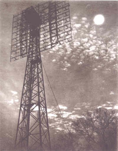 SCR-271 Bedspring RADAR Antenna Pointing at the Moon [photo: David Mofenson; InfoAge website]